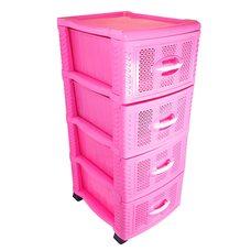 Комод пластиковый на 4 ящика (розовый)