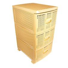 Комод пластиковый под плетеный ротанг на 3 ящика (бежевый)