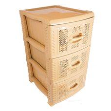 Комод пластиковый на 3 ящика / яруса (бежевый)
