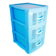 Комод пластиковый на 3 ящика / яруса (голубой)