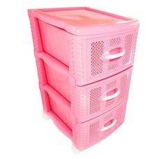 Комод пластиковый на 3 ящика / яруса (розовый)