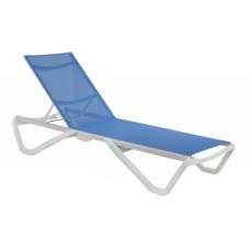Шезлонг Papatya Wave белый 01, сетка голубая 5009