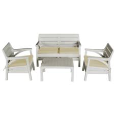 Набор мебели Irak Plastik Маями (2 кресла + скамейка + столик) белый