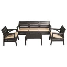 Набор мебели Irak Plastik Гавайи (2 кресла + скамейка + столик) тёмно-коричневый