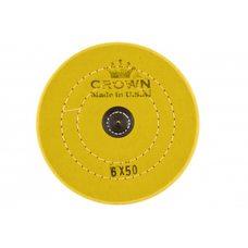 Круг муслиновый CROWN желтый d-150мм, 50 слоев (с кож. пятаком)