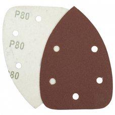 Треугольная шлифовальная шкурка на липучке Velcro Polystar Abrasive 140 мм, P80 (с отв.)