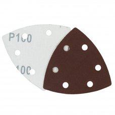 Треугольная шлифовальная шкурка на липучке Velcro Polystar Abrasive 90 мм, P100 (с отв.)