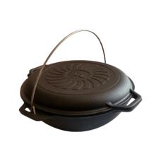 Казан азиатский чугунный  4 л с крышкой-сковородой